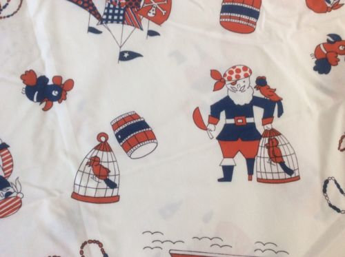 Vintage 1970s Klopman's Novelty Juvenile Pirate MOD Fabric ~ 2 1/3 yards cotton