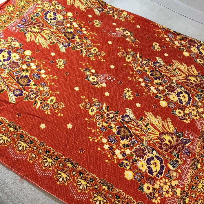 Batik Hand Stamp Hand Print Tablecloth Sarong Floral Tropical Orange 41