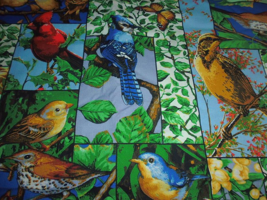 100% Cotton Fabric Springs Naturally Scenic 1543  Bird Squares Allover 1 YD 24