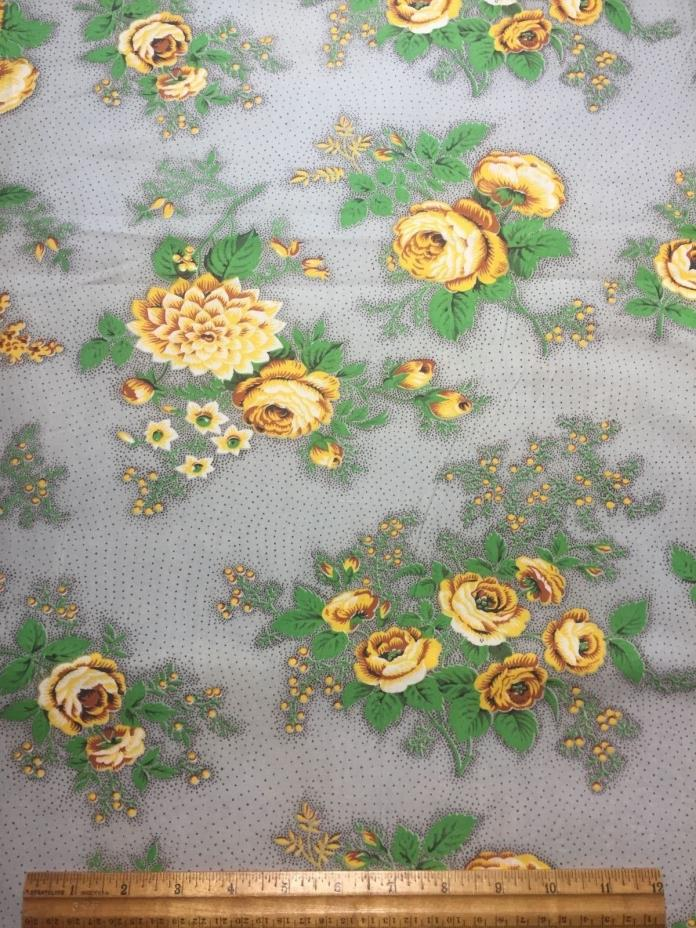 Vintage Cotton Fabric 40s PRETTY Yellow Roses Flowers 35w 1yd