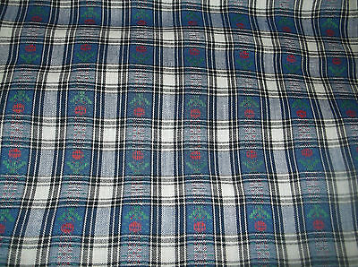 vtg sewing/quilting fabric, plaid with flowers, 3 3/4 w 44 wide