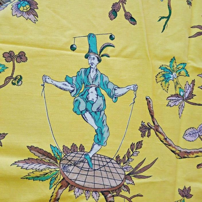 Vintage Flax & Cotton Asian Yellow Print Fabric 50