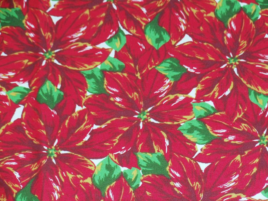 Cotton fabric Christmas large poinsettia floral print brass accent 18.5
