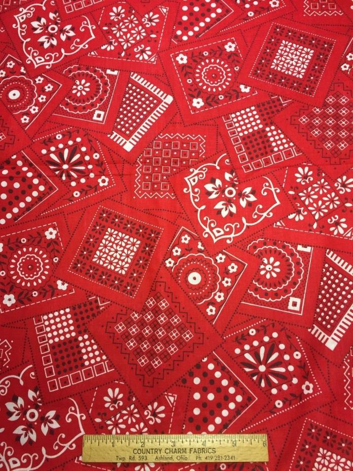 Vintage Cotton Fabric 50s NICE Red Black White Bandana Print 36w 1yd
