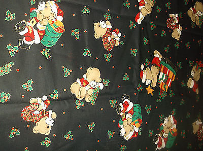 vtg sewing/quilting fabric, teddy bers Christmas, 1 3/4 yd 58 w