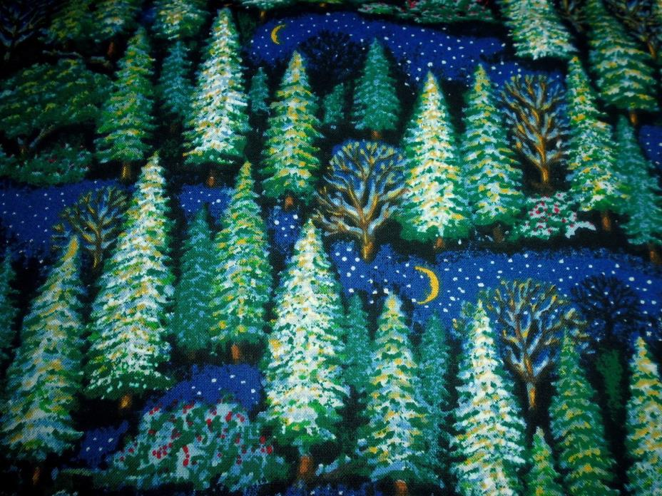 100% Cotton Fabric Trees Allover on Dark Blue Crescent Moon Stars 1 YD Quilt Sew