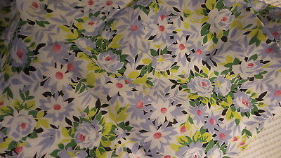 Vintage Lightweight Sheer Cotton FABRIC, Blue Floral,Red Centers,Greens,1 Yd/35