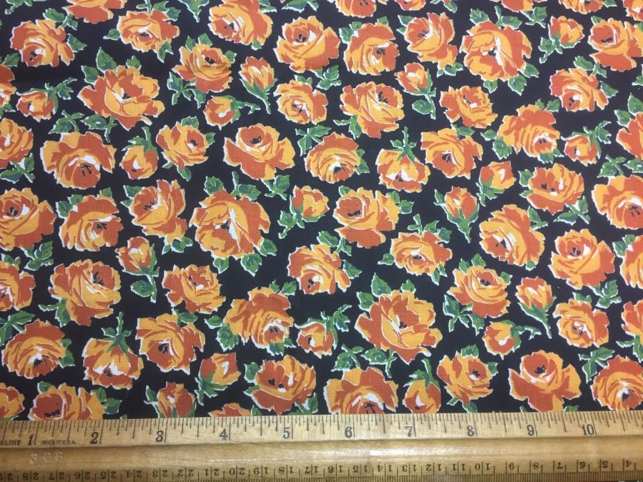 Vintage Cotton Fabric 40s50s PRETTY Orange Roses 35w 1yd