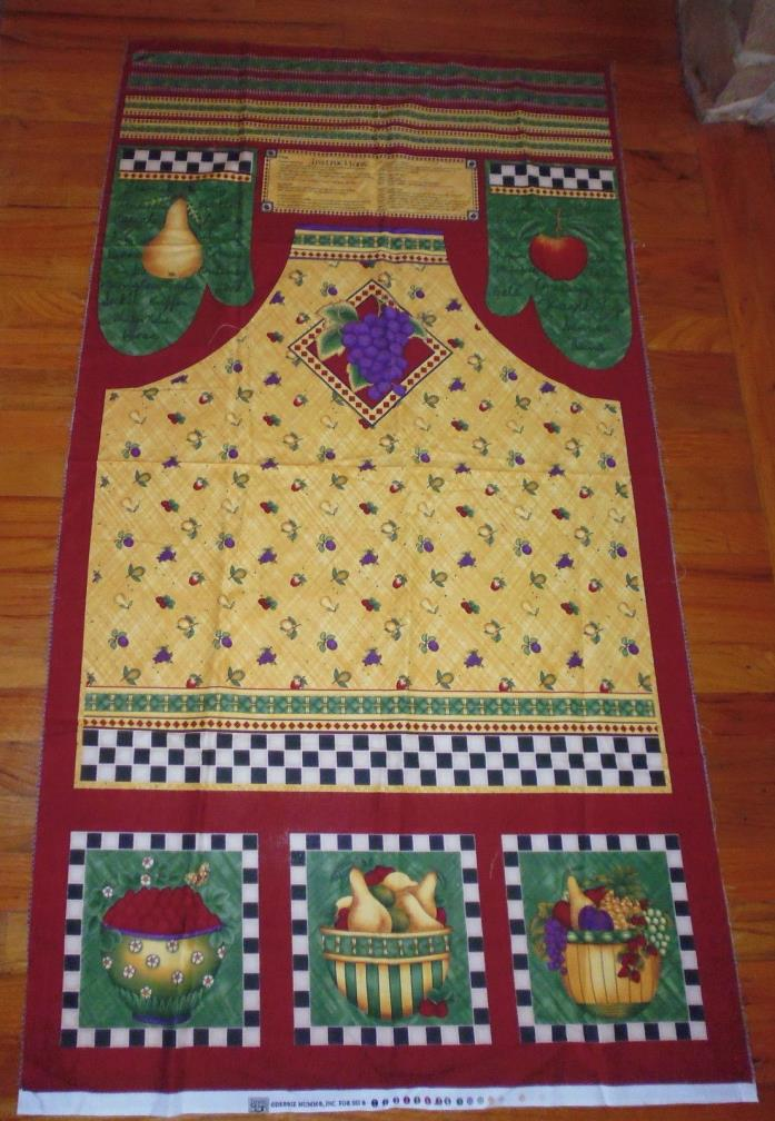 Cotton Panel Debbie Mumm SSI Fruit Full Apron Oven Mitts Cut Sew w/Instructions