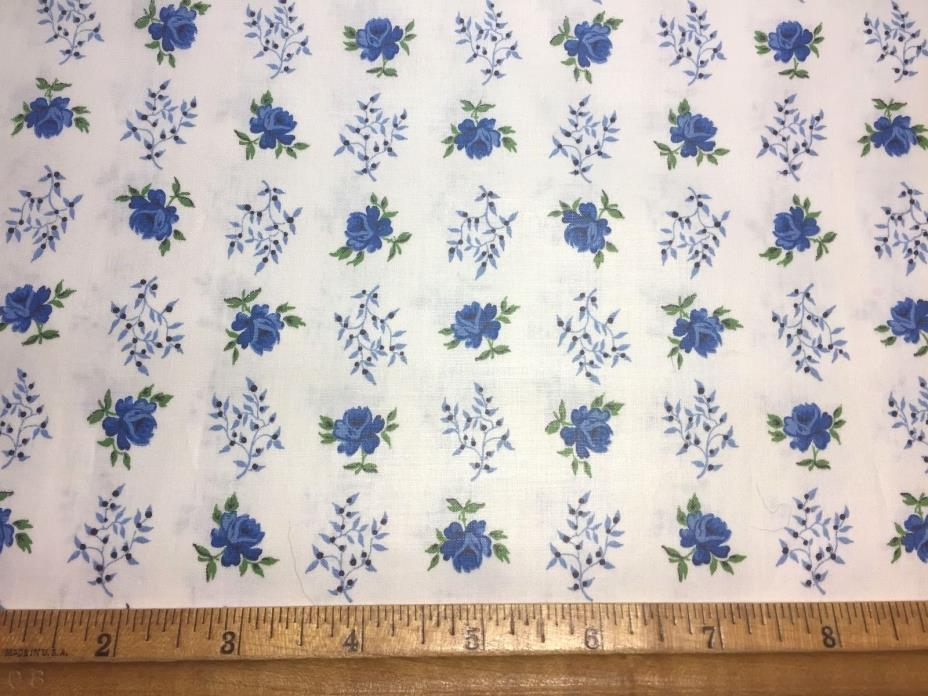Vintage Cotton Fabric 40s50s SWEET Lil Blue Roses 35w 1yd