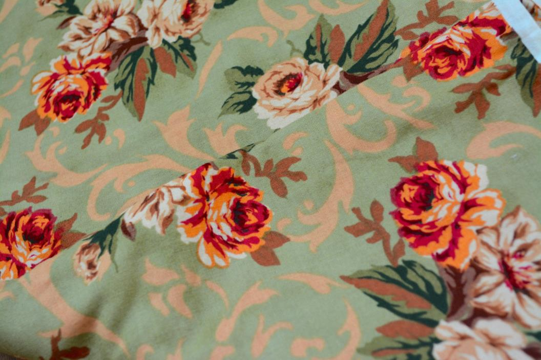 ROSES Fabric Material GREEN Scroll Floral Victorian COTTAGE 94