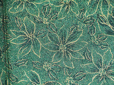 Quilting cotton fabric FQ Christmas gold poinsettia holly print on green