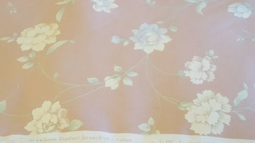 Vintage Eisenhart Screen Print Fabric Cloth Wall covering Pink Floral