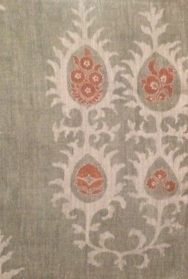 CARLETON V Tribal green linen central asian printed Italy new remnant