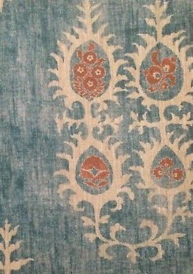 CARLETON V Tribal masai blue linen central asian printed Italy new remnant