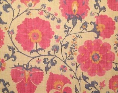 CARLETON V Zarafshan pink linen suzani central asian printed new remnant