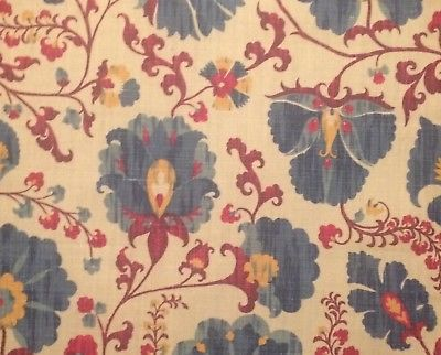 CARLETON V Zarafshan indigo linen suzani central asian printed new remnant
