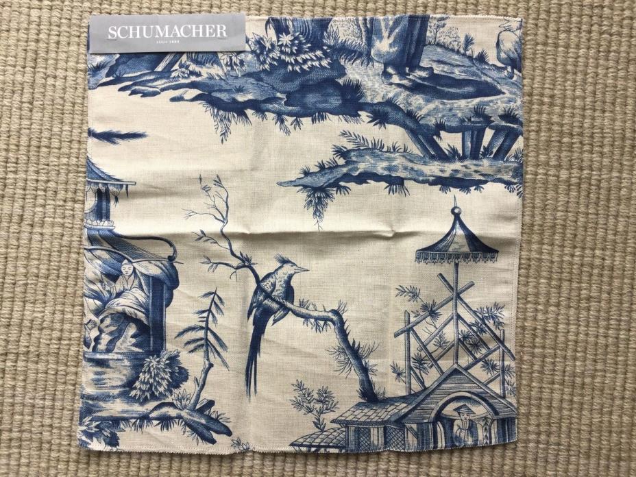 Schumacher Classics Shengyou Toile Indigo Linen Cotton Remnant New 16.5