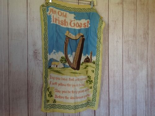 Vintage Irish Blessing Linen Wall Hanging Tapestry Drinking Toast