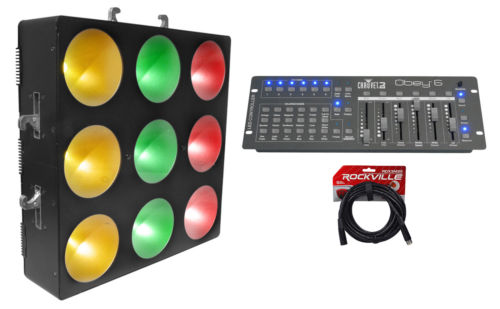 Chauvet DJ CORE 3x3 COB Pixel Mapping+Linear Wash Panel Light+Controller+Cable