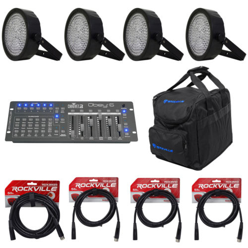 (4) CHAUVET SLIMPAR64 Slim Par Cans+Obey6 DMX Controller+CHS-25 Light Bag+Cables