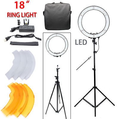 18'' 5500K 55W LED Photo Video Dimmable Adjustable Fluorescent Ring Light Kit US