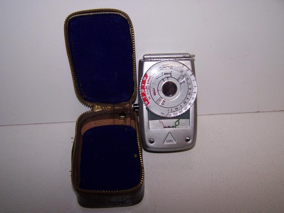 vintage Sekonic 8 movie camera light meter and leather case