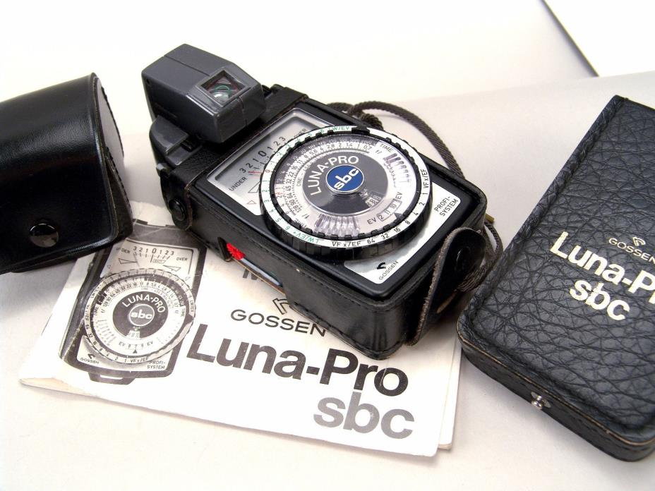 TESTED Gossen Luna-Pro SBC Light Meter, Spot Attachment, Case, Book, Battery