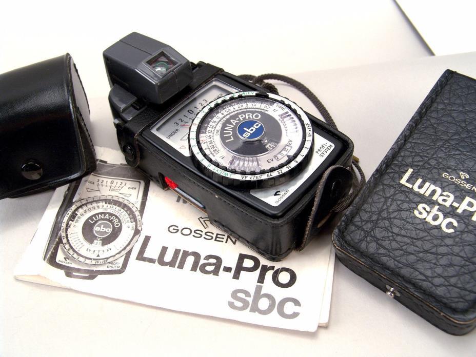 TESTED Gossen Luna-Pro SBC Light Meter, Spot Attachment, Case, Book, Battery
