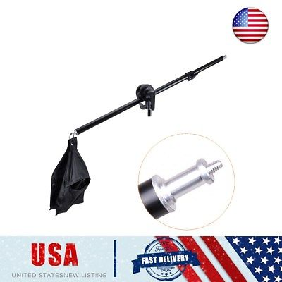 US 75-135cm Photography Studio Light Stand Telescopic Boom Arm + Sandbag Grip