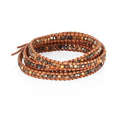NEW CHAN LUU WOMENS ABALONE, CRYSTAL & LEATHER BEADED WRAP BRACELET