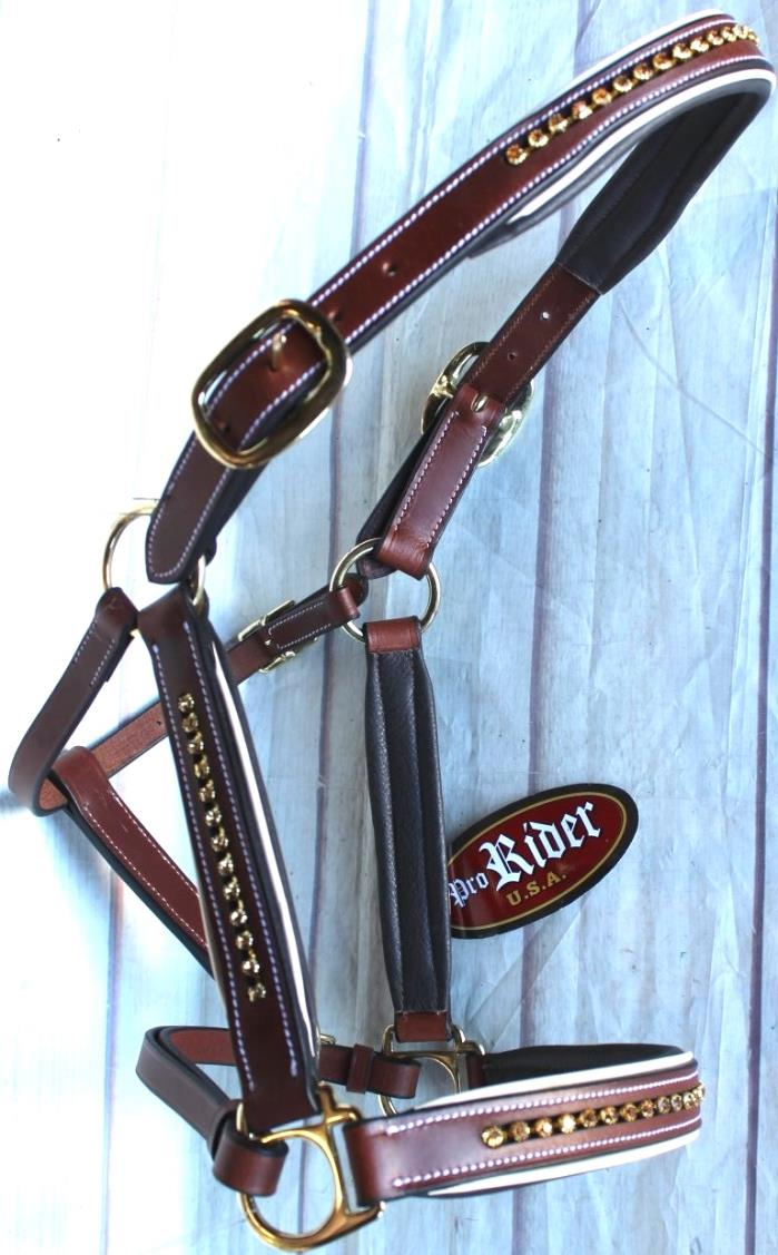 Horse Riding Leather Halter English Western Tack  Brown Bling 927MT08C