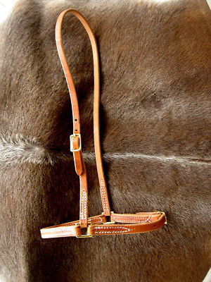 Amish USA Horse Tack Hermann Oak Harnes Leather Stitched Cavison Caveson 975H975