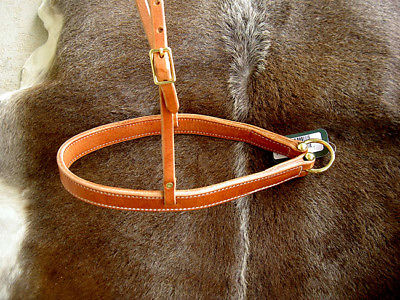 Amish Made in USA Horse Saddle Tack Hermann Oak Leather Noseband Brass 975H915