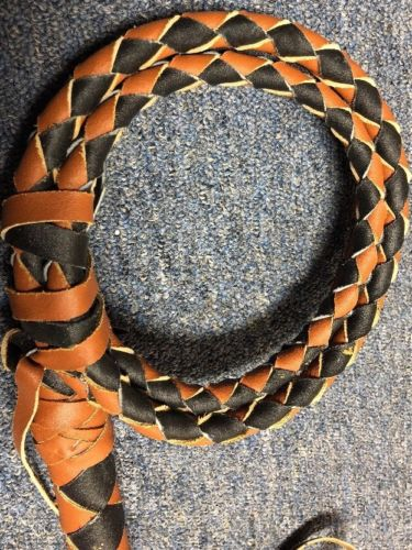 Bull Whip Real Leather Tan And Brown 6 Ft 4 Plait Be Rodeo Western Cowboy