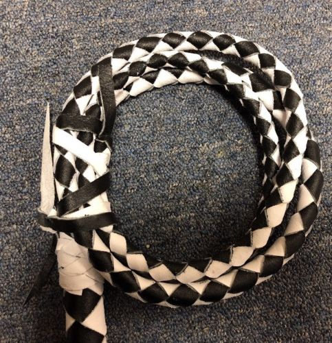 Bull Whip Real Leather BLack And White 6 Ft 4 Plait Be Rodeo Western Cowboy