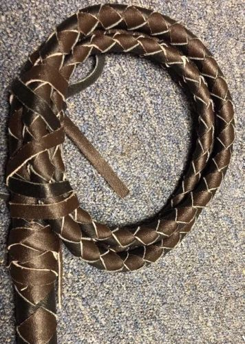 Bull Whip Real Leather Black And Brown 6 Ft 4 Plait Be Rodeo Western Cowboy