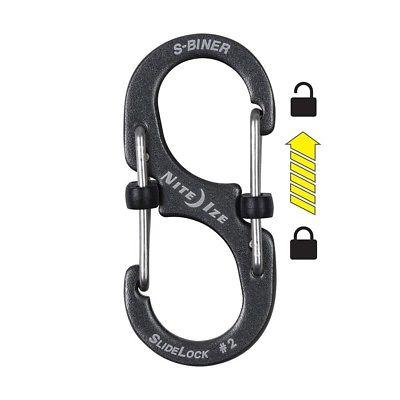 NEW Nite Ize S-biner Slidelock Aluminum - #2 - Charcoal Lsba2-09-r6