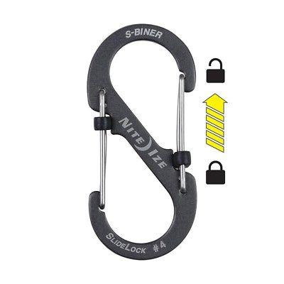 NEW Nite Ize S-biner Slidelock Aluminum - #4 - Charcoal Lsba4-09-r6
