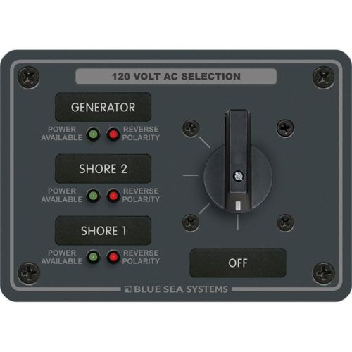 Blue Sea 8366 AC Rotary Switch Panel 30 Ampere 3 Positions + OFF, 2 Pole {-}-