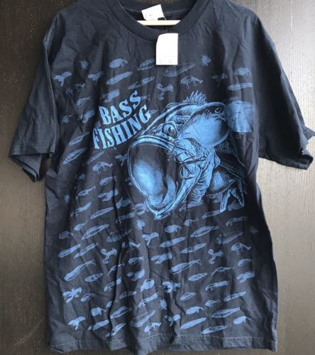 Bass Fishing T-shirt Navy Blue Large Mens Short Sleeve NWT 100% Cotton