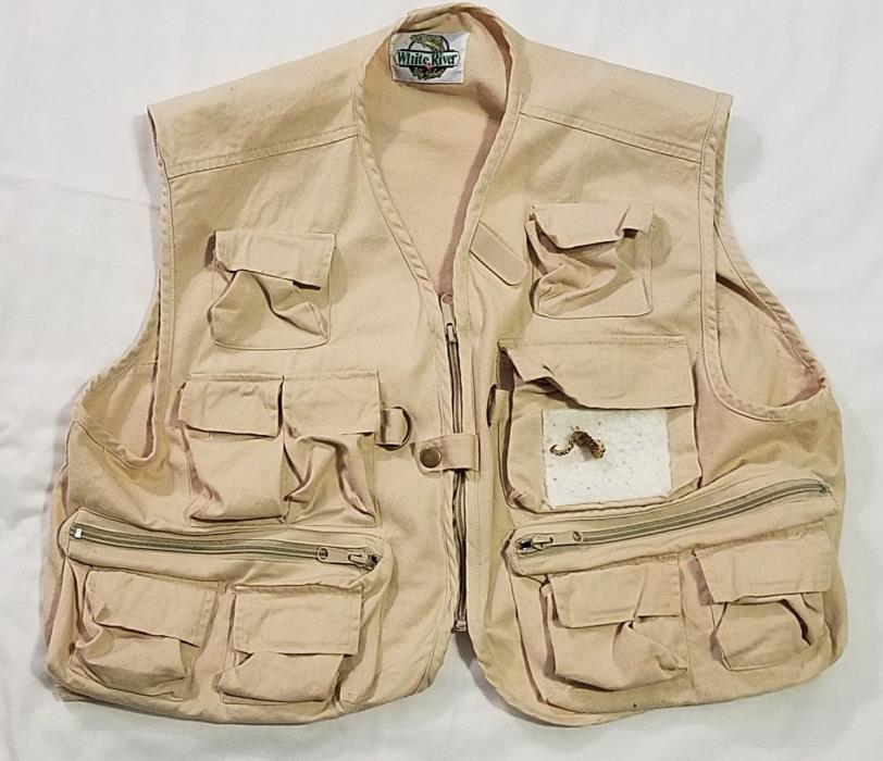 Large White River Fly Shop Fishing Vest Multi Pocket Zip Seen Some Fish Lure