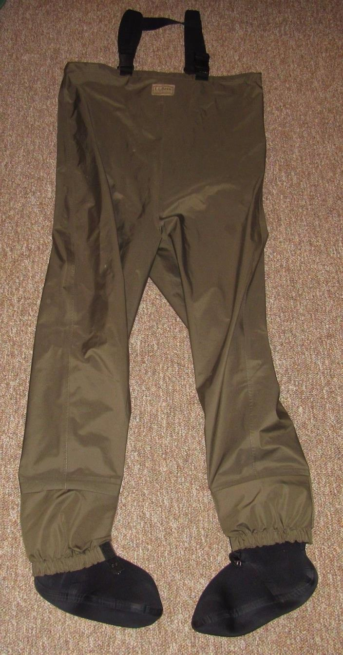 LL BEAN Flyweight Stocking Foot Fly Fishing Chest Waders Men's LARGE Regular