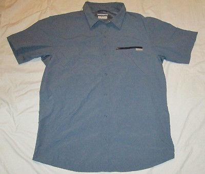 Mens Columbia Omin-Shade Snap Button Front SS Shirt XL Blue