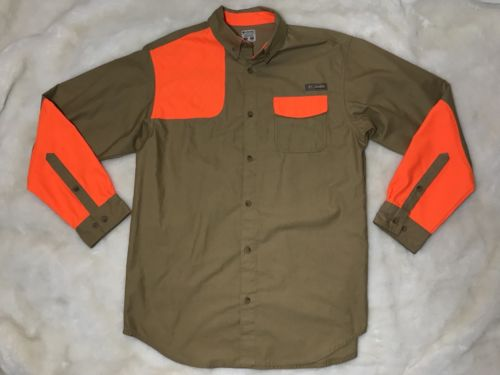 Columbia $90 PHG Omni Shield Hunting Sharptail II Shirt Orange Brown Mens Medium