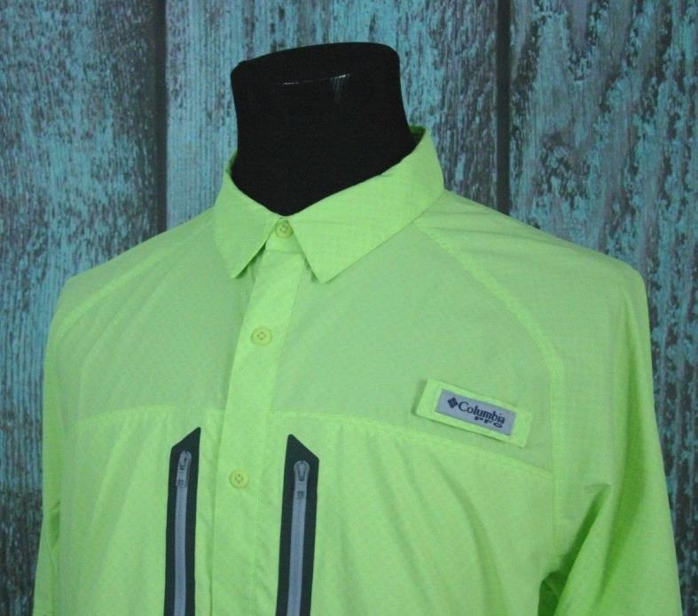 Columbia PFG Men Size Large Omni Freeze Cooling Technology Vented High Res Green