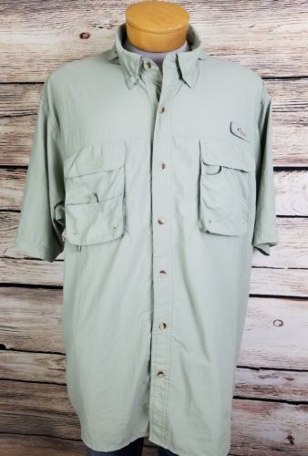 Worldwide Sportsman Mens Size XXL Green Button Front Fishing Shirt Vented