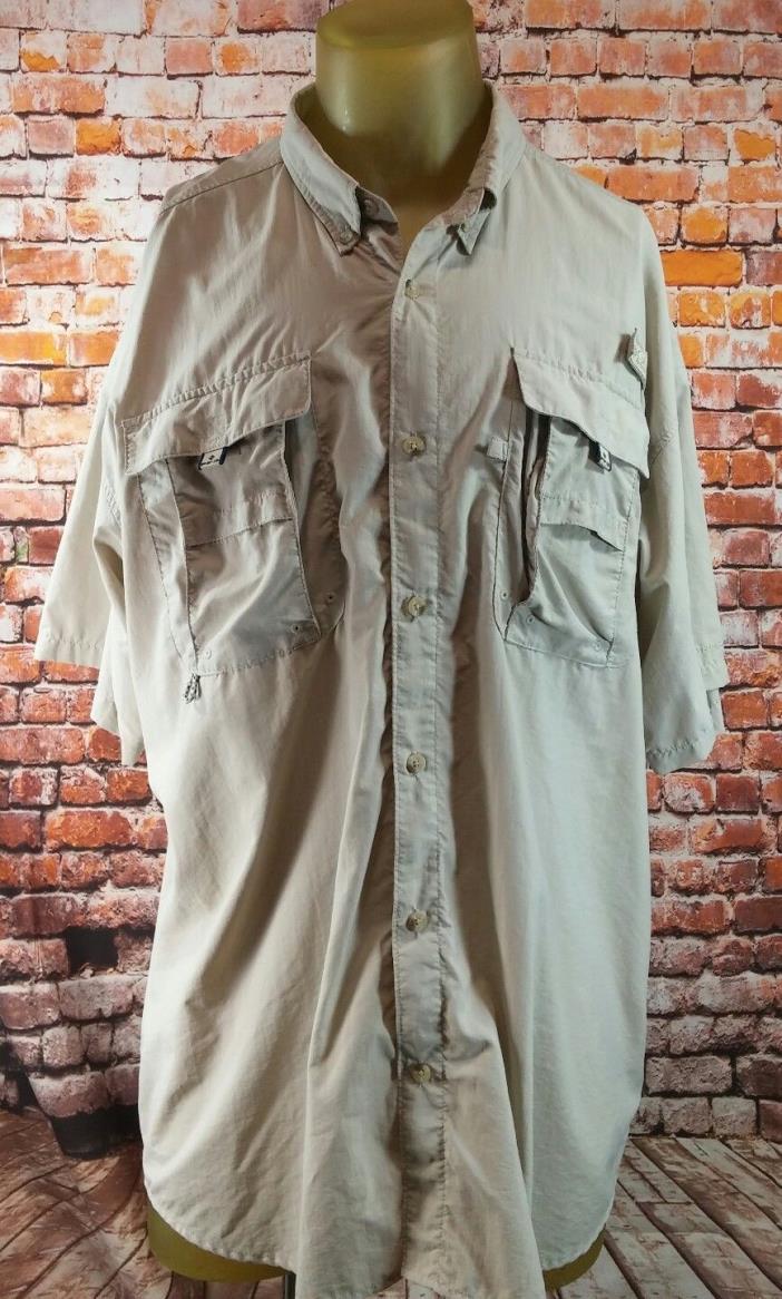 ** Mens Columbia PFG Short Sleeve Vented Fishing Shirt. Size XL, Tan