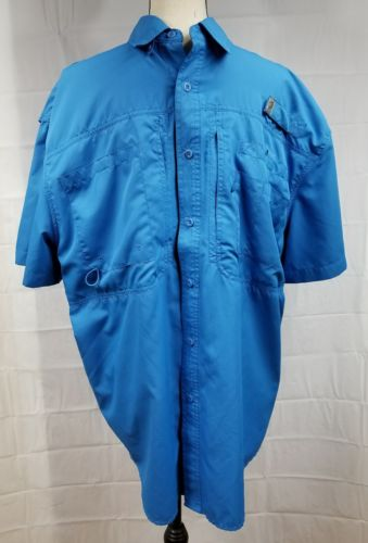 Reel Legends Large Fishing Shirt Mens Short Sleeve Blue Button Up 186