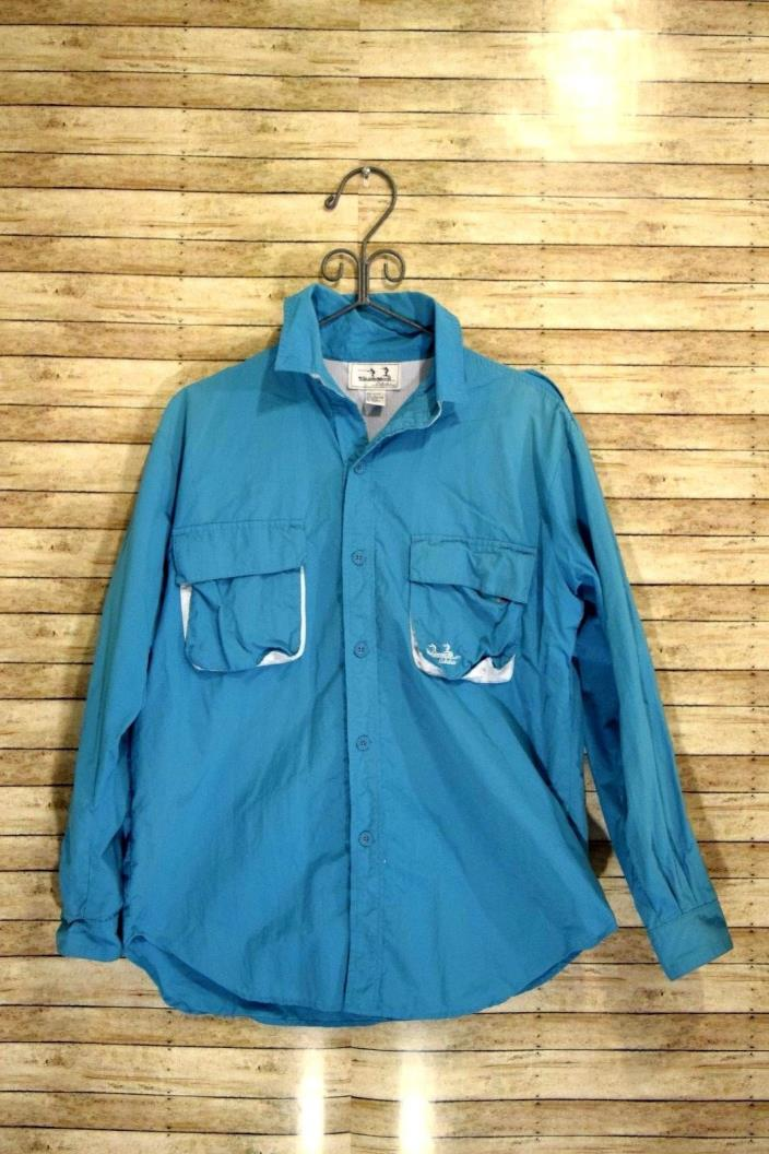 Cabelas Guidewear Turquoise Long Sleeve Button Up Vented Fishing Mens Size Large